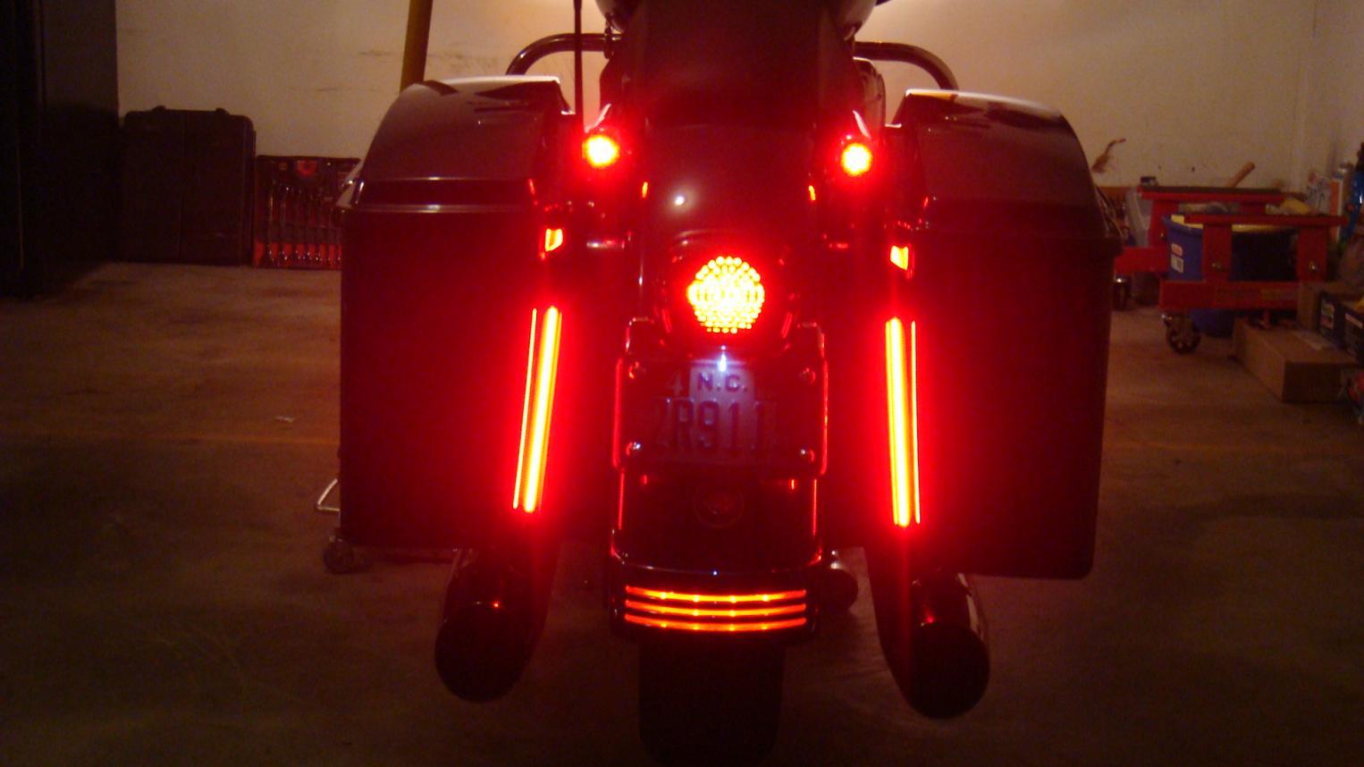 "Custom Dynamics 10/"" Amber Red Plasma Rods Run Brake Turn for Harley Touring FLH"